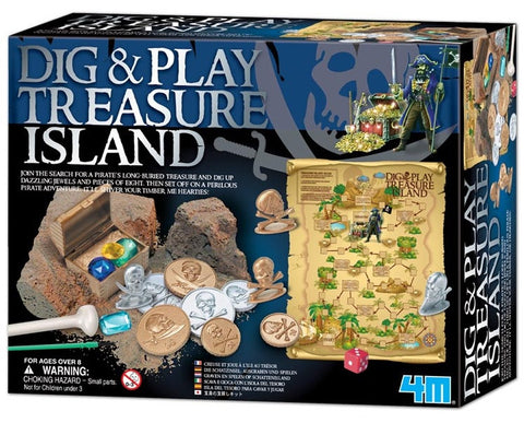 Dig-And-Play Treasure Island Game Kit 4M