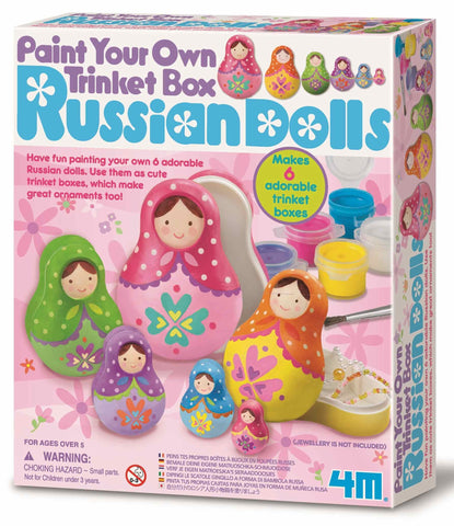 4M Design & Paint Your Own Trinket Box Russian Nesting Dolls Kit