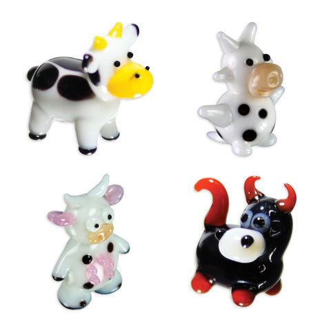 Looking Glass Torch Figurines 3 Cows & Bull 4-Pack