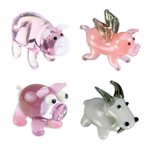 Looking Glass Torch Figurines - 3 Pigs & A Goat 4-Pack