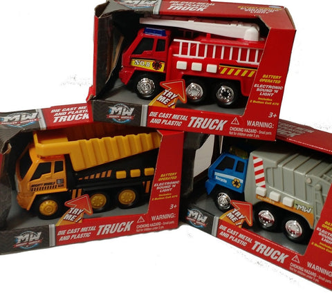 3PK Mighty Wheels Electronic Sound 'N Light Vehicles (Fire Truck, Dump Truck, & Recycling Truck)