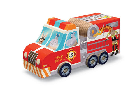 Fire Engine Truck Play Set - 24 Piece Jigsaw Puzzle & Rolling Vehicle Toy Box