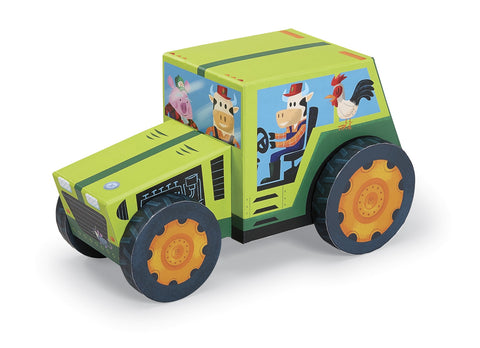 Farm Tractor Play Set - 24 Piece Jigsaw Puzzle & Rolling Vehicle Toy Box
