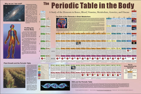 Periodic Table in the Body 28 X 36 Poster, Laminated