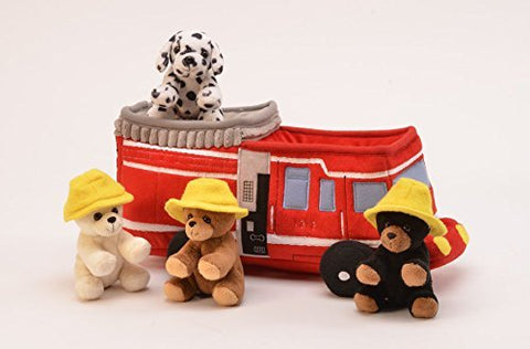 "Fire Truck House - 12"" Plush Case w/4 Stuffed Animals by Unipak Designs"