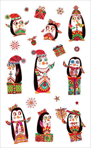 Mrs. Grossman's Festive Penguins Christmas Stickers, Designed by Turnowsky Publishing