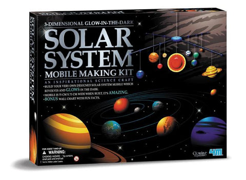 3-D Solar System Mobile Model Making Kit Glows in The Dark by 4M
