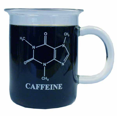 Caffeine Molecule Beaker Mug with Handle Graduated 400mL Quantity Discounts