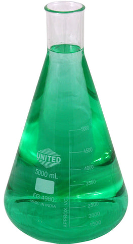United Borosilicate Erlenmeyer Glass Flask: 5000ml (5 liter)