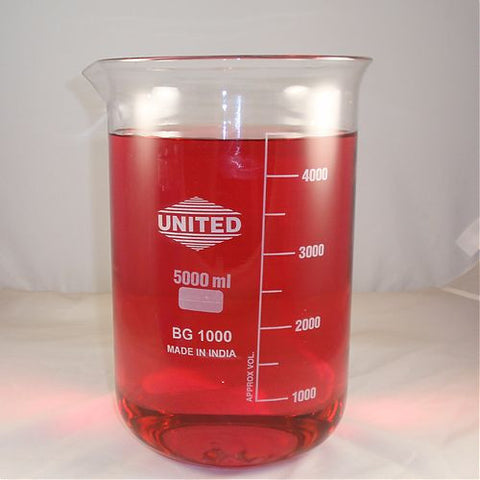 5000mL Glass Beaker High Quality United Borosilicate w/ Pour Spout 5 Liter