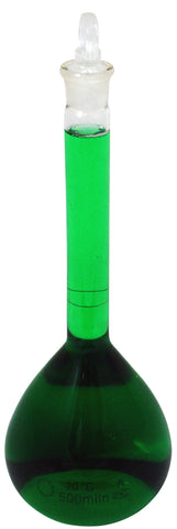 500mL Volumetric Glass Flask with Ground Glass Stopper