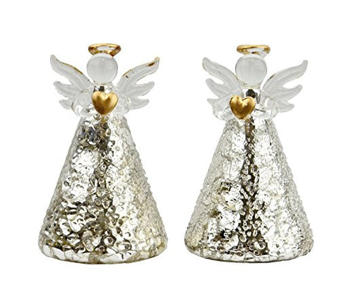 Holiday Multi-Color Light-Up Silver Textured Glass Angel - Set of 2