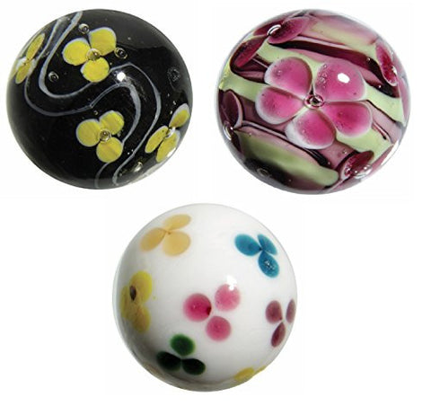 "16mm Handmade Art Glass ""Flower"" Marbles Set of 3 w/Stands"