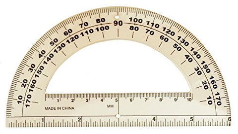 Classroom Set of 10 Student Protractor 180 Degree 6 Inch Ruler Clear Plastic School Math
