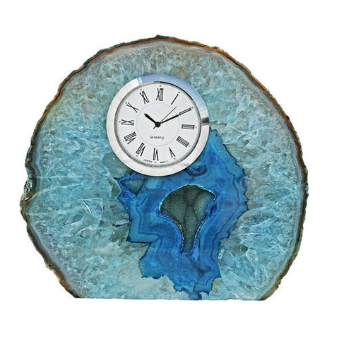 Small Blue Polished Agate Table Clock