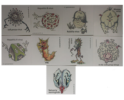 Nanobugs Vaccine Preventable Temporary Tattoos Set C-30