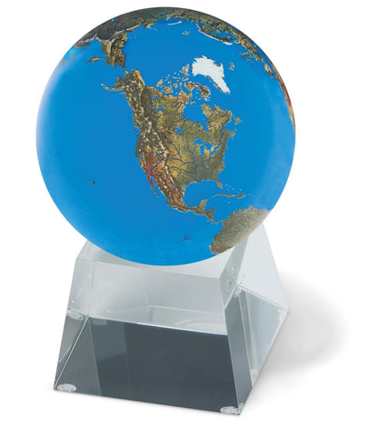 Aqua Crystal Earth Globe 3 Inch Diameter on Clear Glass Stand