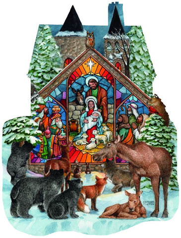 Forest Nativity - 1000 Piece Shaped Jigsaw Puzzle