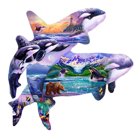 Orca Habitat - 1000 Piece Shaped Jigsaw Puzzle