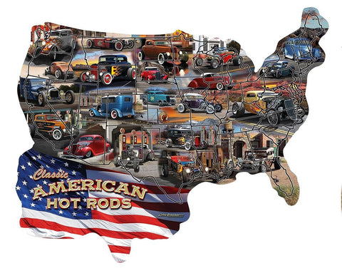 Hot Rod U.S.A. - A 600 Piece Shaped Jigsaw Puzzle