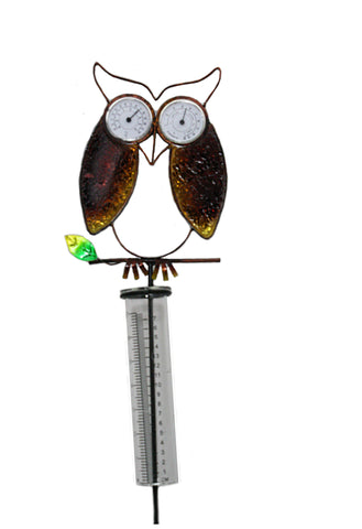 Owl Rain Gauge w/Thermometer and Barometer