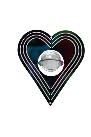 "3"" Heart Shaped Mini Geo Spinner w/Crystal Sphere"