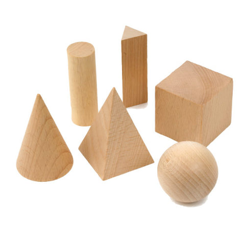 Geometric Solid, Hardwood Set of 6 Shapes