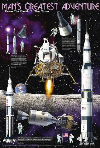 Man's Greatest Adventure Laminated Space Poster 24x36 From Earth to the Moon