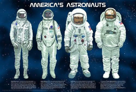 Laminated America's Astronauts Space Poster 24x36