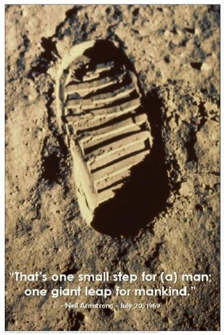 Small Step  Space Poster 24x36 Man's Footprint on the Moon