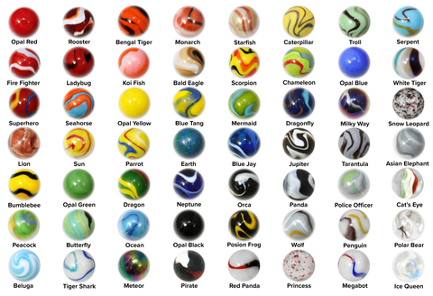 "Mega Marbles 1"" Shooter Bundle - Pack of 56 Different Styles in 25mm"