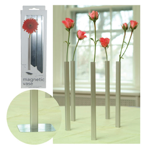 Magnetic Vases - Silver Tone Bud Vase Pack of 5