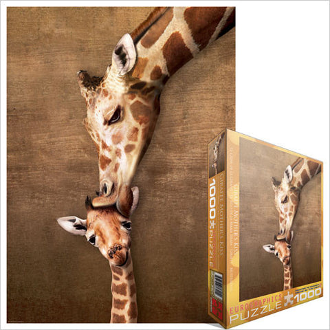"Giraffe Mother's Kiss 1000 Piece Puzzle 19.25"" x 26.5"""