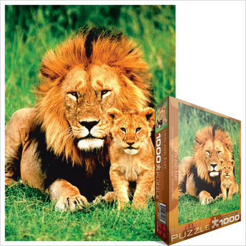 "Lion And Baby 1000 Piece Puzzle 19.25"" x 26.5"""
