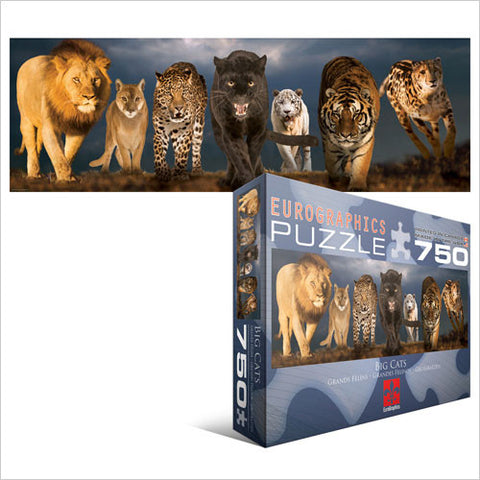 "Big Cats Panoramic 750 Piece Puzzle 12"" x 36"""