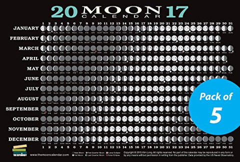 2017 Moon Calendar Card (5-pack): Lunar Phases, Eclipses