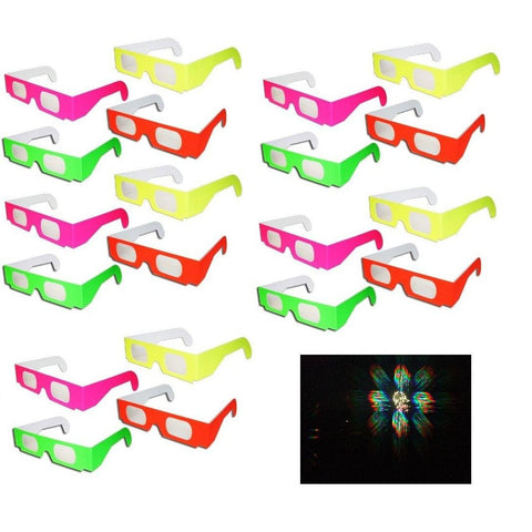 20 pairs 3D Fireworks Glasses Neon Multi-Starbursts of 3D Color