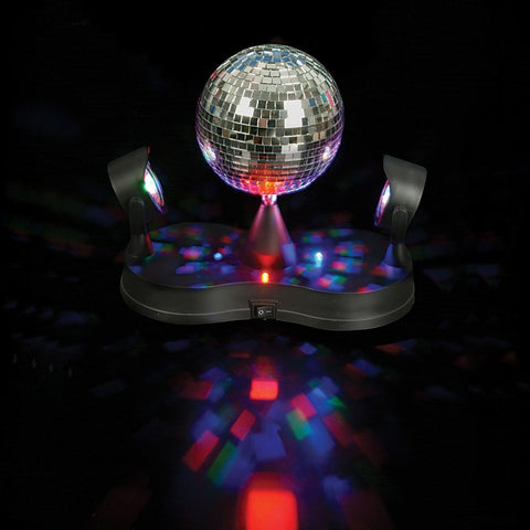 Revolving Mirror Ball- 5 Inch Rotating Disco Party Light w  LEDs