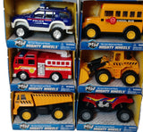 Set of 6 Mighty Wheels 4in Vehicles- Fire Truck, ATV, School Bus & More