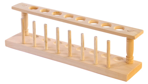 8 Place Wooden Test Tube Rack, Educational Quality w/22mm Diameter Holes