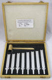 Standard Tuning Fork Set of 8/ A=426.6 with Mallet In Box