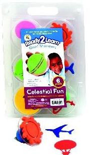 Set of 6 Celestial Fun Giant Rubber Stampers wCase/ Sun, Moon, Plane etc