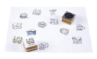 Weather Rubber Stamper Set #1 w/12  Stamps: Sun, Rain, Clouds Etc