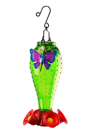 4-Spout Green Glass Butterfly Hummingbird Feeder