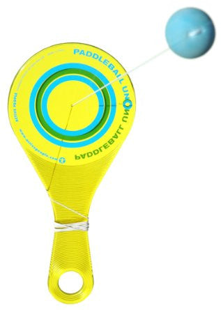 PaddleBall Uno with 30 Paddle Ball Tricks Booklet - YELLOW