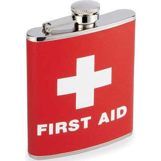Stainless Steel Liquor Hip Flask with Red Cross & First Aid Design
