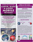Earth, Mars & Moon MOBILE to Scale