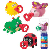 4 Mini Squee-Z-Bubs Soap Bubble Toys Lady Bug, Caterpillar, Blowfish & Butterfly