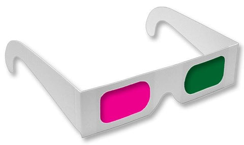 Anaglyph 3D Glasses Magenta/Green View 3D Movies Like Monsters Vs Aliens-Pack of 5