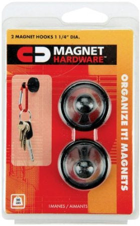 Set of 2 Black Heavy Duty Magnetic Hooks - Pack of 5